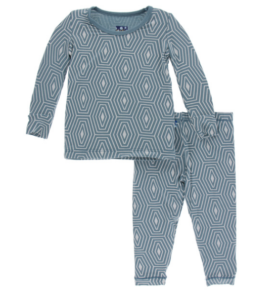 Kickee Pants Print Long Sleeve Pajama Set - Dusty Sky Tortoise Shell