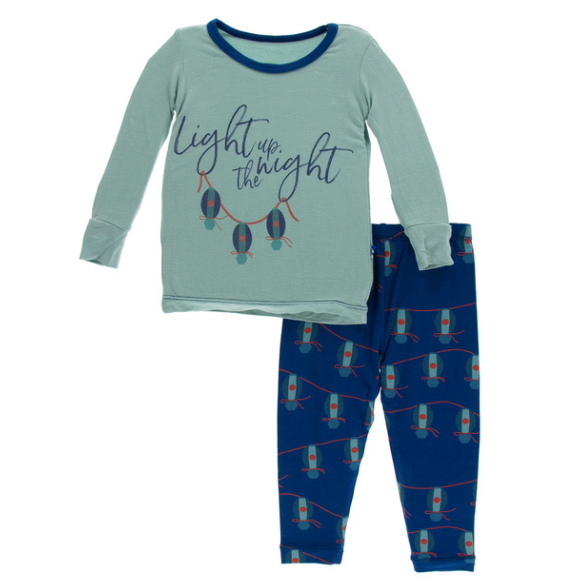 Kickee Pants Print Long Sleeve Pajama Set - Navy Lantern Festival