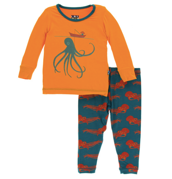 Kickee Pants Print Long Sleeve Pajama Set - Oasis Octopus