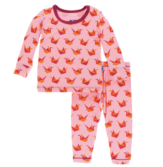 Kickee Pants Print Long Sleeve Pajama Set - Lotus Origami Crane