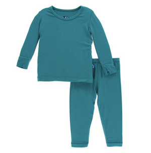 Load image into Gallery viewer, Kickee Pants Solid Long Sleeve Pajama Set - Seagrass