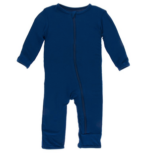 Kickee Pants Solid Coverall with ZIPPER - Navy