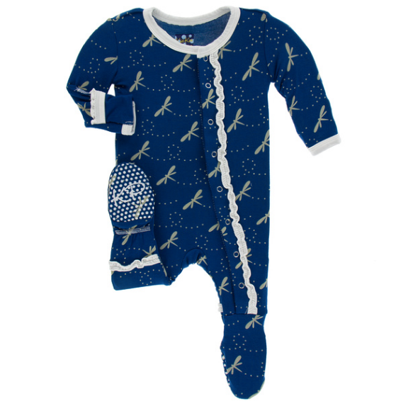 Kickee Pants Print Muffin Ruffle Footie with SNAPS - Navy Dragonfly
