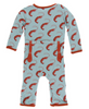 Kickee Pants Print Coverall with ZIPPER - Jade Shrimp