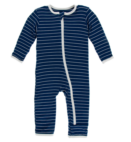 Kickee Pants Print Coverall with ZIPPER - Tokyo Navy Stripe