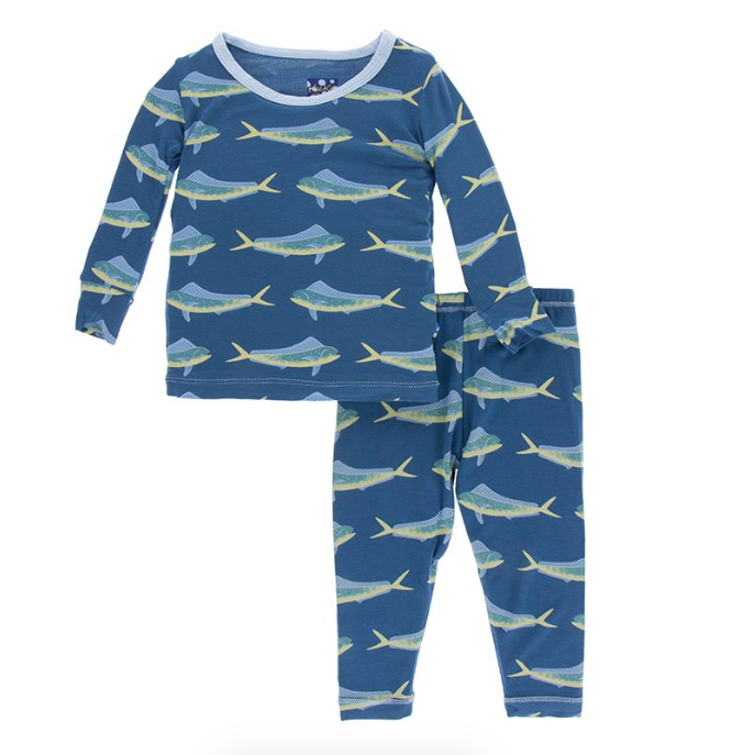 Kickee Pants Print Long Sleeve Pajama Set - Dolphin Fish