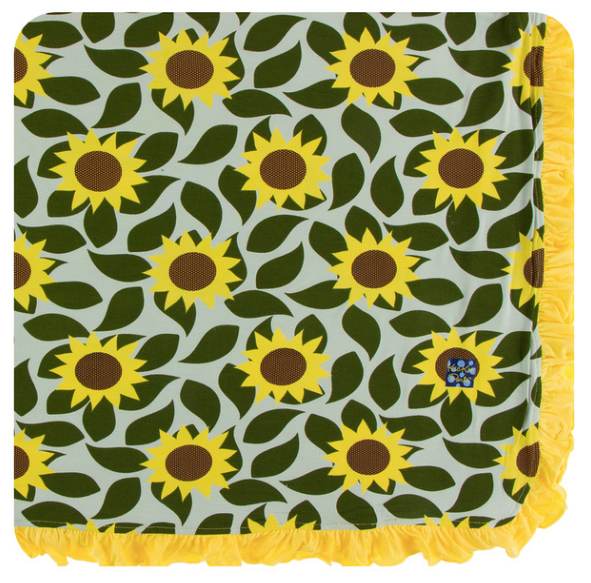 Kickee Pants Print Ruffle Toddler Blanket - Aloe Sunflower