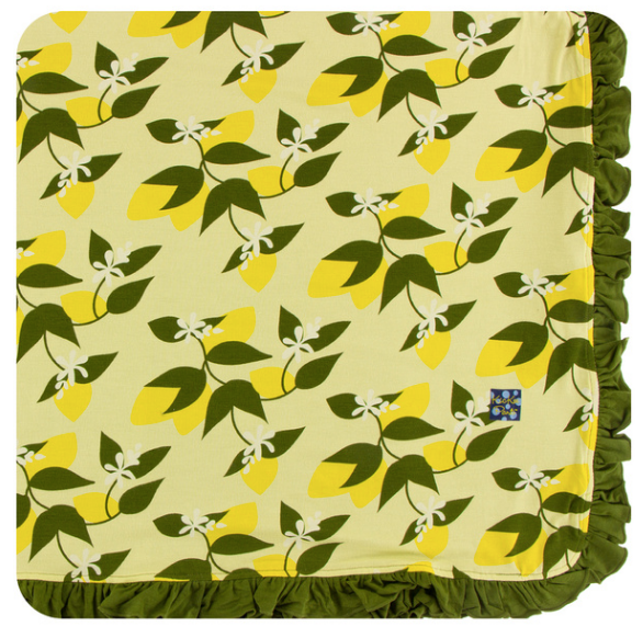 Kickee Pants Print Ruffle Toddler Blanket -Lime Blossom Lemon Tree