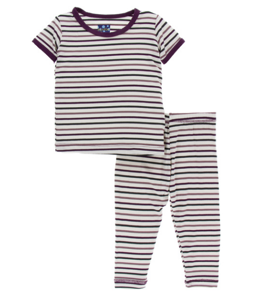 Kickee Pants Print Short Sleeve Pajama Set - Tuscan Vineyard Stripe