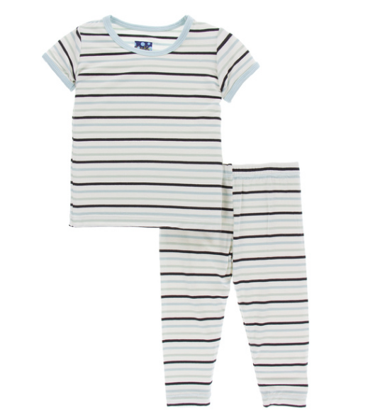 Kickee Pants Print Short Sleeve Pajama Set - Tuscan Afternoon Stripe