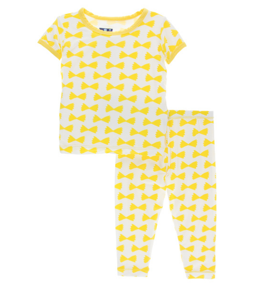 Kickee Pants Print Short Sleeve Pajama Set - Natural Farfalle