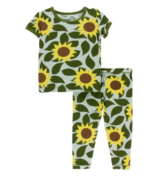 Kickee Pants Print Short Sleeve Pajama Set - Aloe Sunflower