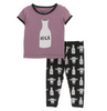 Kickee Pants Print Short Sleeve Pajama Set - Zebra Tuscan Cow