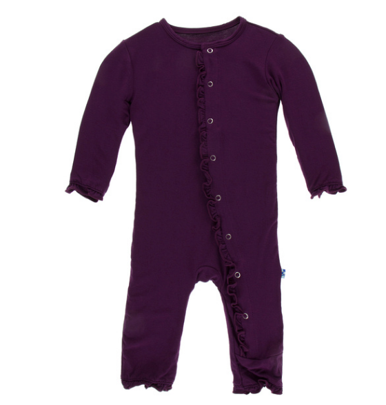 Kickee Pants Solid Layette Classic Ruffle Coverall with SNAPS - Wine Grapes