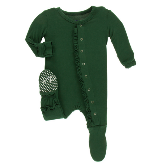Kickee Pants Solid Classic Ruffle Footie with SNAPS - Topiary