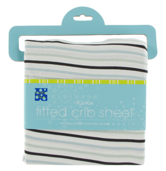 Kickee Pants Print Fitted Crib Sheet - Tuscan Afternoon Stripe