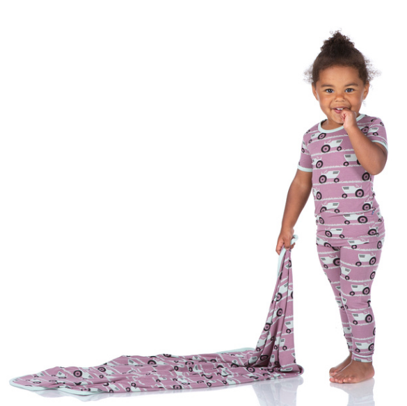 Load image into Gallery viewer, Kickee Pants Print Short Sleeve Pajama Set - Raisin Tractor and Grass