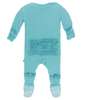 Kickee Pants Solid Classic Ruffle Footie with SNAPS - Glacier
