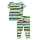 Kickee Pants Print S/S Pajama Set with Pants - Cancun Glass Stripe