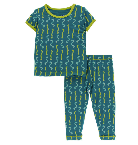 Kickee Pants Print S/S Pajama Set with Pants - Oasis Worms