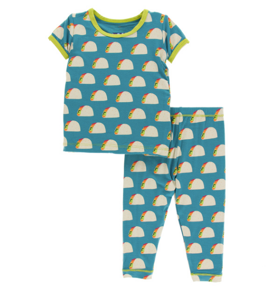 Kickee Pants Print S/S Pajama Set with Pants - Seagrass Tacos