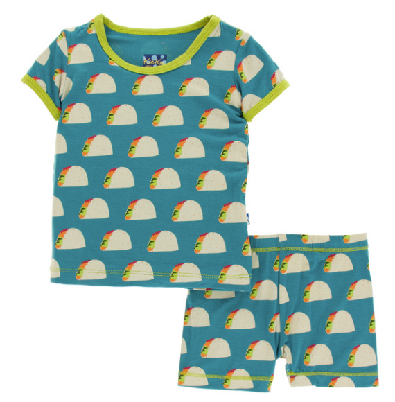 Kickee Pants Print S/S Pajama Set with Shorts - Seagrass Tacos