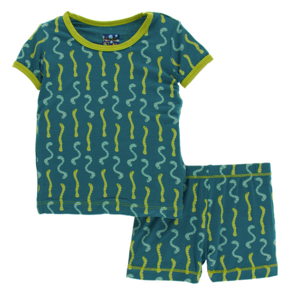 Kickee Pants Print S/S Pajama Set with Shorts - Oasis Worms