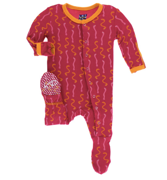 Kickee Pants Print Footie with SNAPS - Rhododendron Worms