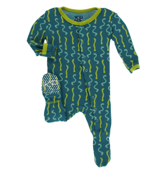 Kickee Pants Print Footie with SNAPS - Oasis Worms