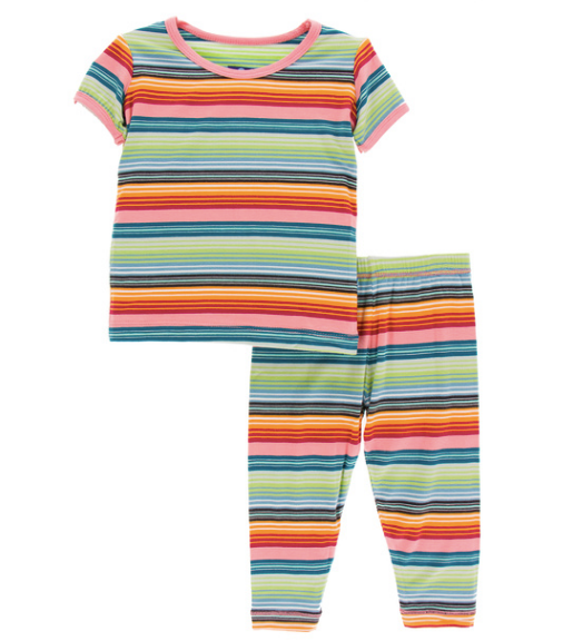Kickee Pants Print S/S Pajama Set with Pants - Cancun Strawberry Stripe