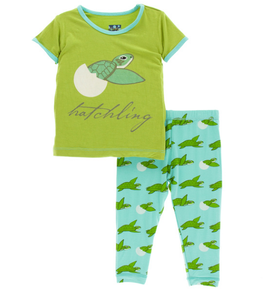 Kickee Pants Print S/S Pajama Set with Pants - Glass Sea Turtles