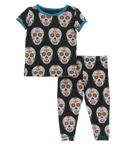 Kickee Pants Print S/S Pajama Set with Pants - Dia De Los Muertos