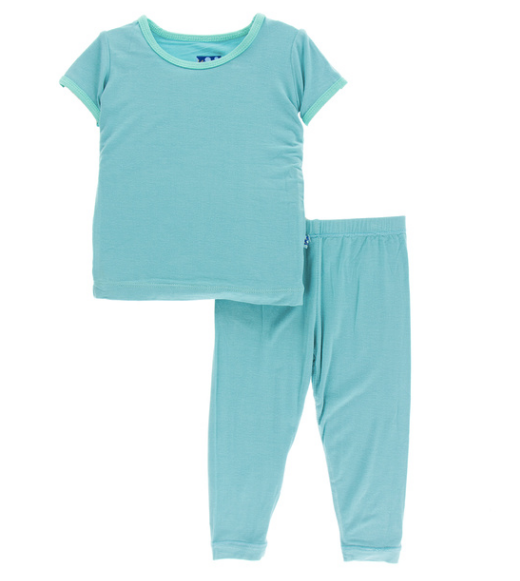 Kickee Pants Solid S/S Pajama Set with Pants - Glacier w/ Glass