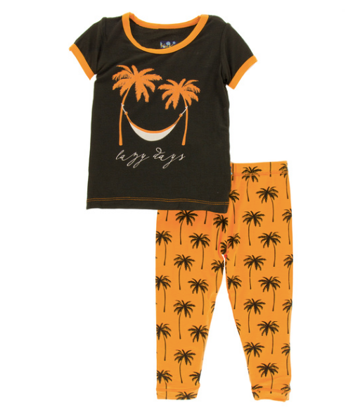 Kickee Pants Print S/S Pajama Set with Pants - Apricot Palm Trees