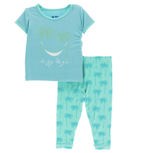 Kickee Pants Print S/S Pajama Set with Pants - Glass Palm Trees