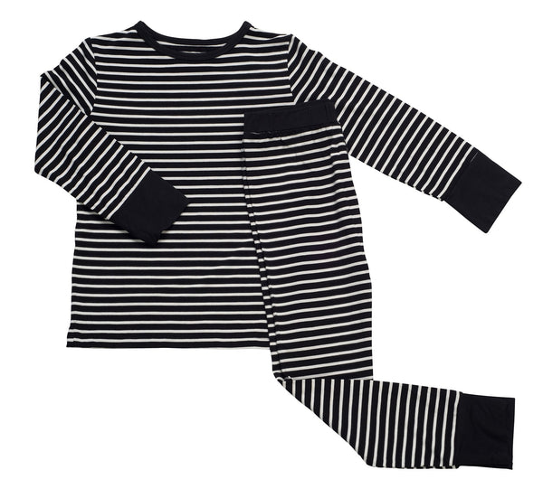 Sweet Bamboo Black with White Stripes Pajama Set