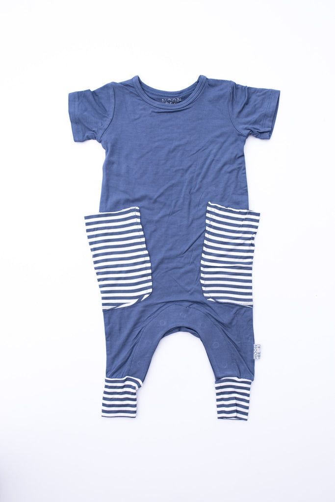 Moon and Beck * Blue Stripe Slouch Romper