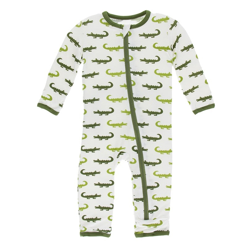 Natural Crocodile Coverall with Zipper