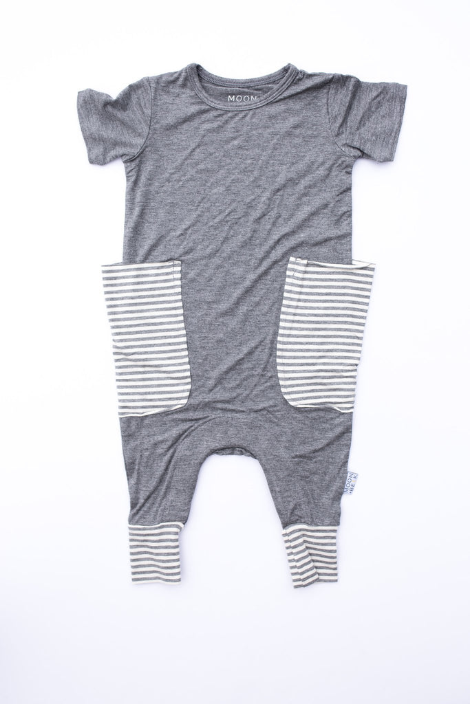Moon and Beck * Gray Stripe Slouch Romper