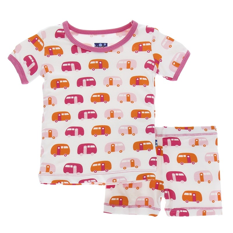 Natural Camper Short Sleeve Pajama Set with Shorts
