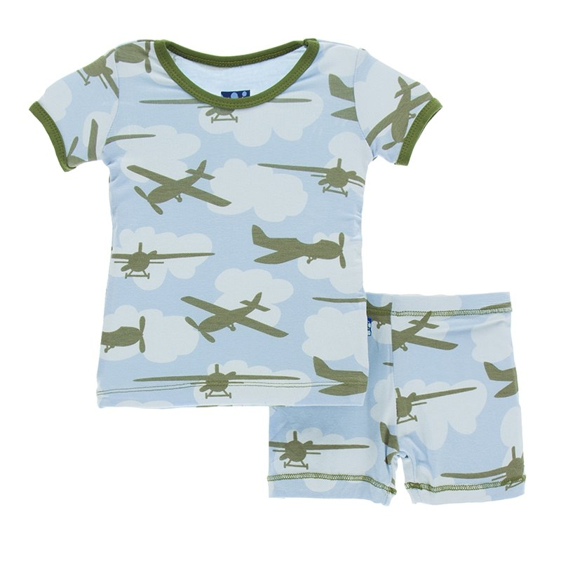 Pond Airplanes Short Sleeve Pajama Set with Shorts