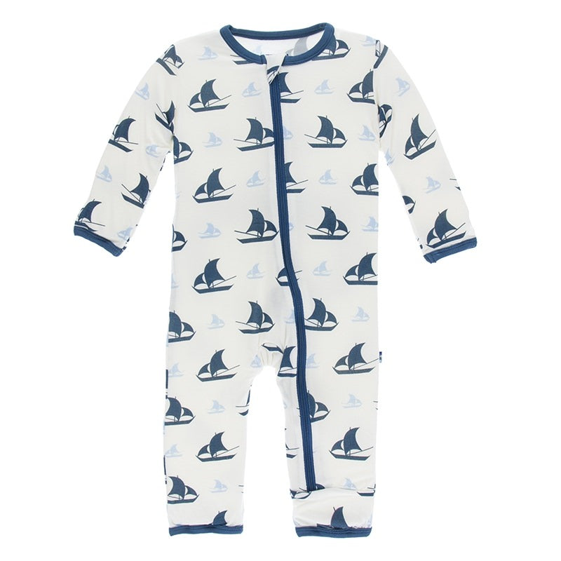 Natural Sailboat Coverall with Zipper