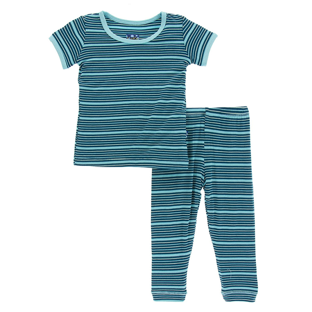 Kickee Pants Short Sleeve Pajama Set - Shining Sea Stripe