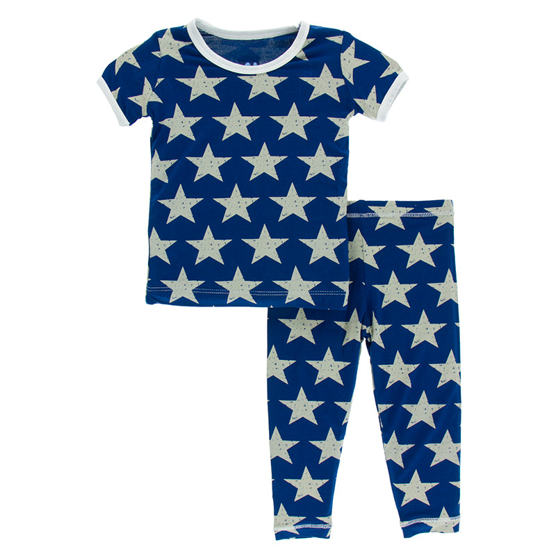 Kickee Pants Short Sleeve Pajama Set * Vintage Stars