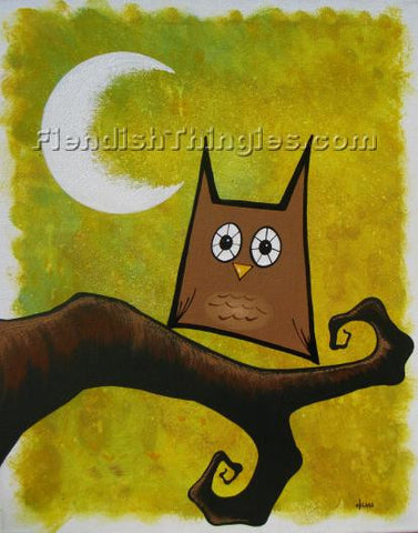 "Brown Owl 8"" x 10"" print - Fiendish Thingies"