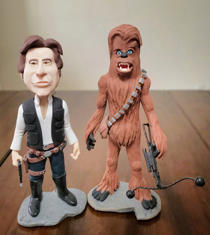 Han and Chewie Star Wars OOAK polymer clay sculpture