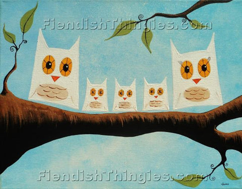 "Family Of Five 8"" x 10""  framed print - Fiendish Thingies"