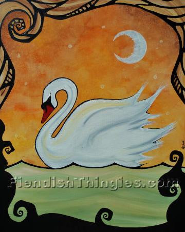 "Swan Lake 11"" x 14"" framed print - Fiendish Thingies"