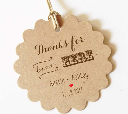 Thanks for bean here wedding favor tags