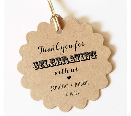 Thank you for celebrating with us - Customized (Scallop) Set of 30